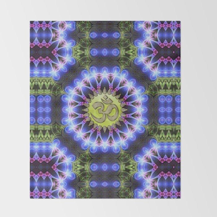 Om Shanti Fractal Geometry series #1 Throw Blanket