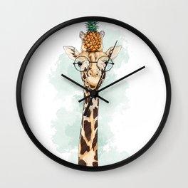 Intelectual Giraffe with a pineapple on head Wall Clock