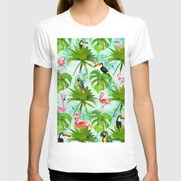 Tropical green pink colorful birds watercolor floral T-shirt