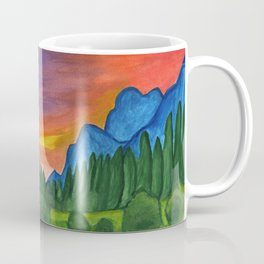 Mountain river in the background of the forest and the blue mountains at sunset Coffee Mug