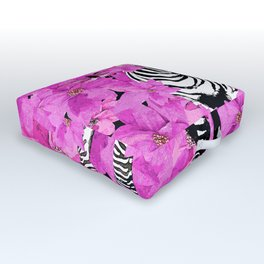 ZEBRA AND PINK FLOWERS and DRAGONFLIES Outdoor Floor Cushion