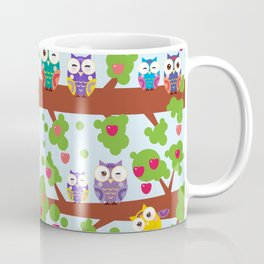 bright colorful owls on the branch of a tree with red apples on blue background Coffee Mug