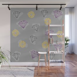 Falling Diamond Doodles Wall Mural