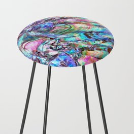 Shimmery Rainbow Abalone Mother of Pearl Counter Stool