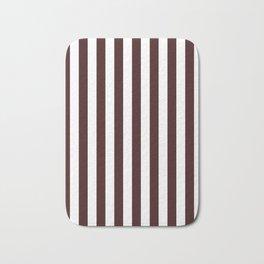 Narrow Vertical Stripes - White and Dark Sienna Brown Bath Mat