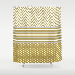 Ikat Gold Chevron Shower Curtain