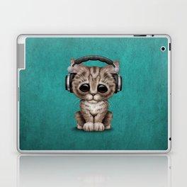Cute Kitten Dj Wearing Headphones on Blue Laptop & iPad Skin