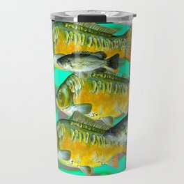 YELLOW MONARCH BUTTERFLIES & BROWN  FISH VIGNETTE Travel Mug