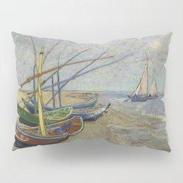 """Vincent Van Gogh """"Fishing boats on the Beach at Les Saintes-Maries-de-la-Mer"""" Pillow Sham"""
