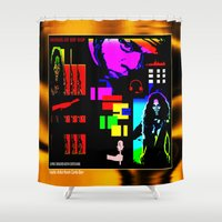 jay z Shower Curtains featuring SOUNDS OF HIP HOP by KEVIN CURTIS BARR'S ART OF FAMOUS FACES