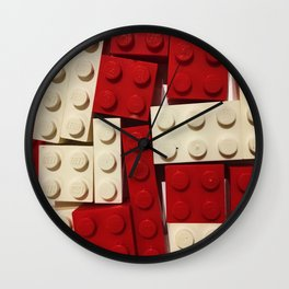 Red and White Legos Wall Clock