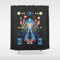 megaman Shower Curtains featuring MegaMan Shrine by MattBlanksArt