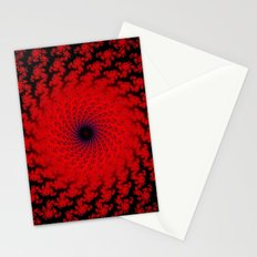 Red Space Spiral Fractal  Stationery Cards