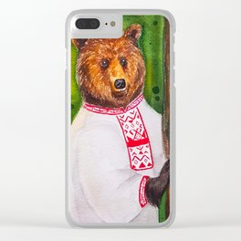 Russian bear Clear iPhone Case
