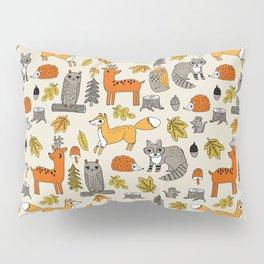 Woodland foxes rabbits deer owls cute pattern by andrea lauren Pillow Sham