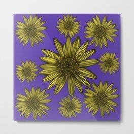 Contrasting Daisy Pop Yellow Daisies on Purple Metal Print