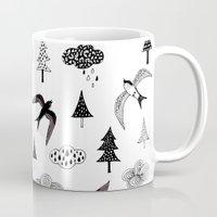 swallow Mugs featuring swallow by Hui_Yuan-Chang