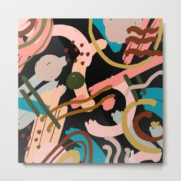 Breakfast and dessert. Abstraction. Black background. Metal Print