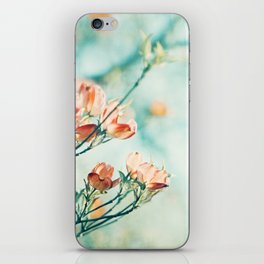 Teal Peach Coral Flower Photography, Aqua Turquoise Orange Dogwood Floral Nature Art iPhone Skin
