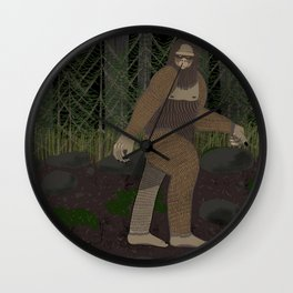 Bigfoot in the Forest Wall Clock
