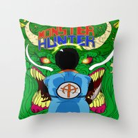 monster hunter Throw Pillows featuring Monster Hunter by Rasheed Daoud Hines