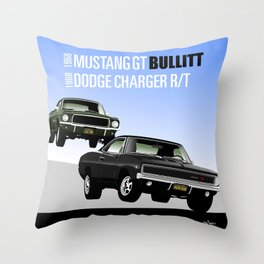 Ford Mustang and Dodge Charger from Bullitt Throw Pillow