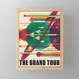 NASA Retro Space Travel Poster The Grand Tour Framed Mini Art Print