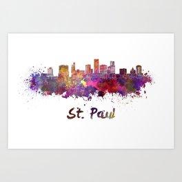 Saint Paul skyline in watercolor Art Print