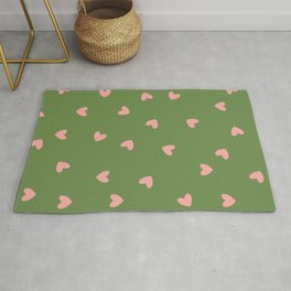 Pink Hearts on Green Background Rug