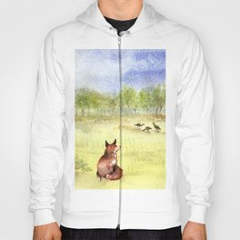 Red Fox Watching Wild Turkeys - Watercolor Hoody