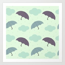 rainy sky with colorful umbrella seasonal pattern Art Print