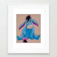 eeyore Framed Art Prints featuring Eeyore drawing by Alice's Art
