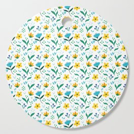 Summer flowers in yellow and blue in white background Cutting Board