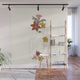Colorful Thoughts Minimal Line Art Woman with Flowers IV  Wall Mural