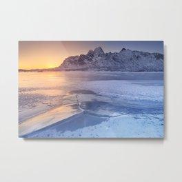 Frozen fjord on the Lofoten in northern Norway Metal Print