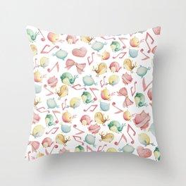 Cute pink green yellow watercolor music notes bird pattern Throw Pillow