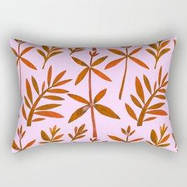 Orange Brown Watercolor Autumn Leaves Pattern Rectangular Pillow