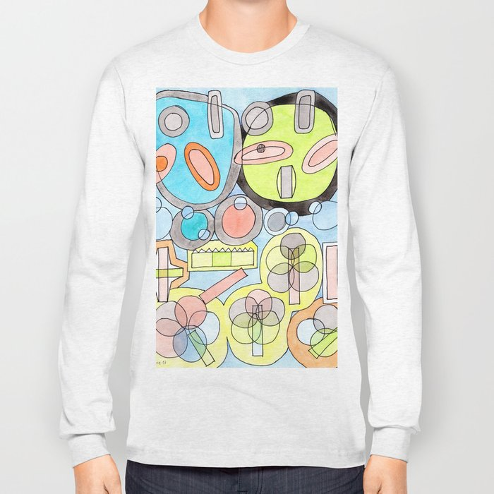Abstract Star Colony Pattern Long Sleeve T-shirt