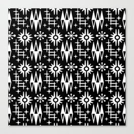 Mid Century Modern Atomic Space Age Pattern Black And White Canvas Print