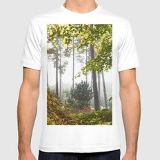 Pine trees viewed through autumnal Beech tree leaves. Norfolk, UK. White Mens Fitted Tee MEDIUM