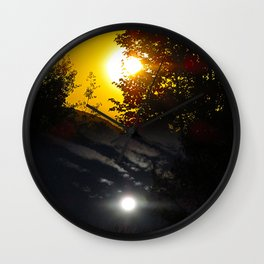 Full Moon At Sunset To Sunrise Sun Cloud Sky Landscape Wall Clock