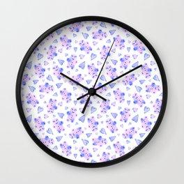 Watercolor Gingerbread Cookies in Pink + Blue Pastel Wall Clock