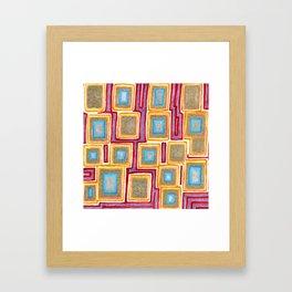 Crimson Gold and Squares Framed Art Print