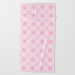 Light Pink Snowflakes  Beach Towel