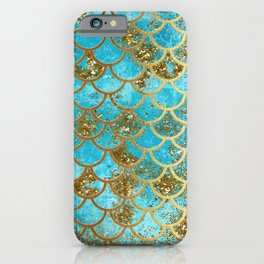 Aqua Teal & Gold Glitter MermaidScales - Mermaid Scales And Sea Foam iPhone Case