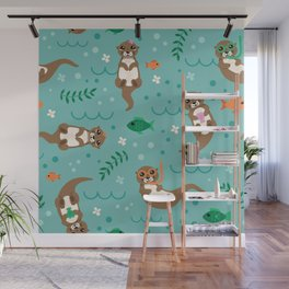 Kawaii Otters Playing Underwater Wall Mural