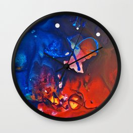 Humo, Vibrant wet on wet abstract, NYC artist Wall Clock