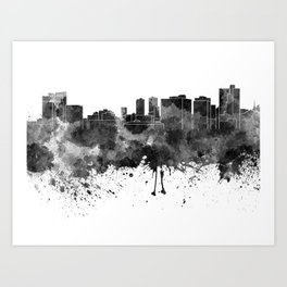 Fort Worth skyline in black watercolor Art Print