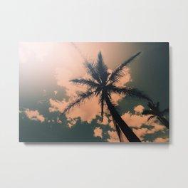 Palm Tree Turquoise Vintage Summer Beach Metal Print