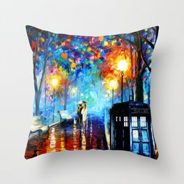 STARRY NIGHT TARDIS Throw Pillow